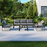 IMS Garden Salon de Jardin Design Aluminium 5 Places Couleur Gris - FIGARI