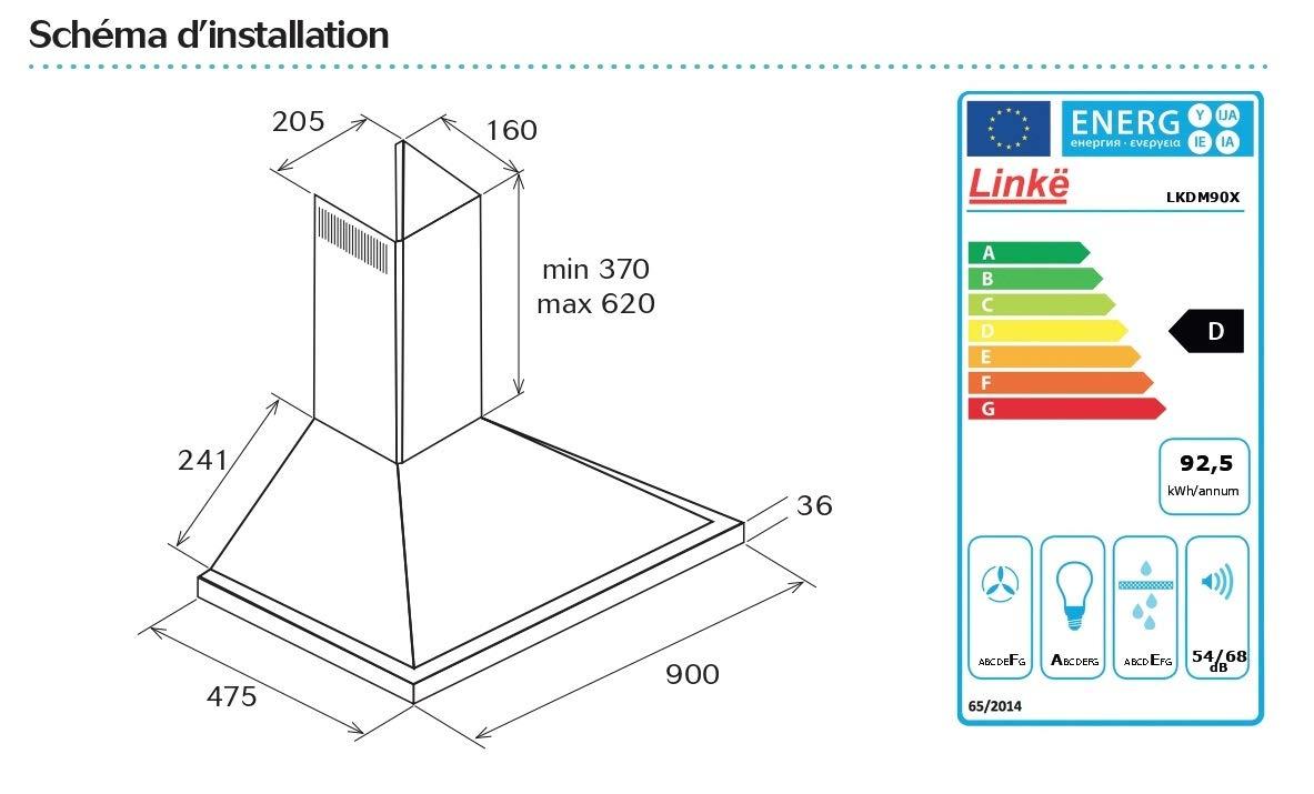 LINKEN LKDM90X – Campana decorativa de pared – 90 cm – Modo mixto con iluminación LED – Controles mecánicos/botones pulsadores – Color inoxidable: Amazon.es: Bricolaje y herramientas