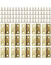 Kleine Mini scharnieren, 50 packs kast lade deur borst butt scharnieren connectoren met 200 stuks 8 mm mini messing scharnier vervangende schroeven, metalen scharnier voor houten sieraden doos