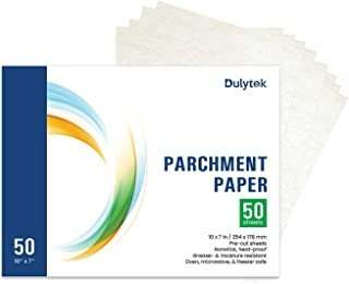 Dulytek Pre-Cut Parchment Paper - 10 x 7 Inches - Slick Silicone Coating on Double Sides [ 50-Sheet ]