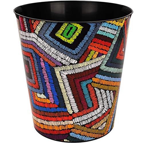 Papierkorb / Behälter - buntes Retro & Vintage Muster Tribal - 10 Liter - wasserdicht - aus Kunststoff - Ø 28 cm - großer Mülleimer / Eimer - Abfalleimer - Au..