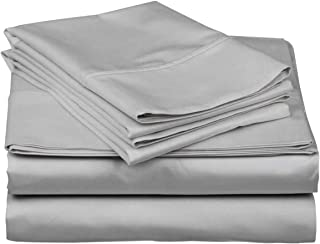 Blueberry Voyage Genuine Premium Egyptian Cotton 1000 Thread Count Italian Finish Silver Grey 4-Piece Sheet Set, 15 inches Deep Pocket, Solid, Size King
