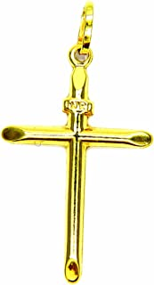 Ciondolo Oro Giallo 18kt (750) Pendente Croce Smussata Classica Uomo Donna Bambini