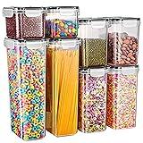 Gesentur Contenitori Alimentari per Cereali Set 8 Pezzi, Contenitori Ermetici Alimentari Plastica con Coperchio per Alimenti, Utilizzato per la Conservazione di Pasta, Cheerios