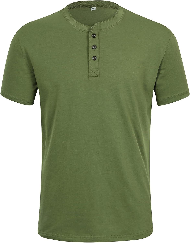 ZHPUAT Men's Slub Cotton Henley Shirt Regular-Fit Lightweight Basic T-Shirt with Short Sleeves
