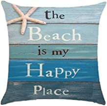 Refreshing summer The beach is my happy place Cotton Linen Throw pillow cover Cushion Case Holiday Decorative 18X18 inch (2)
