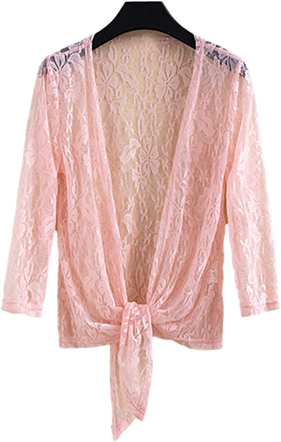 AMEBELLE Women's Lightweight 3/4 Sleeve Front Tie Shrug Tops Lace Open Front Cardigan