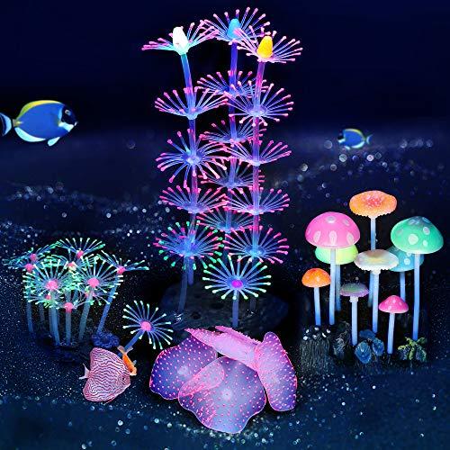 ACBungji 4er künstliche Wasserpflanzen Set glühende Aquarium Silikon Pflanzen Koralle, Anemone Aquariumpflanze Aquarium Dekoration für Aquarium Landschaft