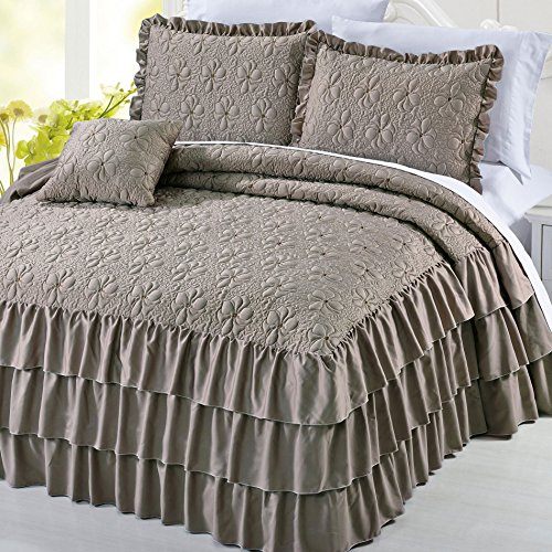 Serenta 4 Piece Matte Satin Ruffle Quilted Bedspread Set, Taupe, King