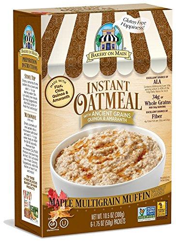 Bakery On Main, Gluten-Free Instant Oatmeal, Vegan & Non GMO - Maple Multigrain Muffin, 10.5oz (Pack of 3)