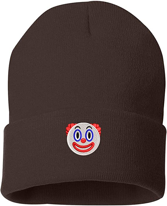 TOP LEVEL APPAREL Clown Emoji Emoticon Embroidered Cuffed Knit Winter Unisex Beanie