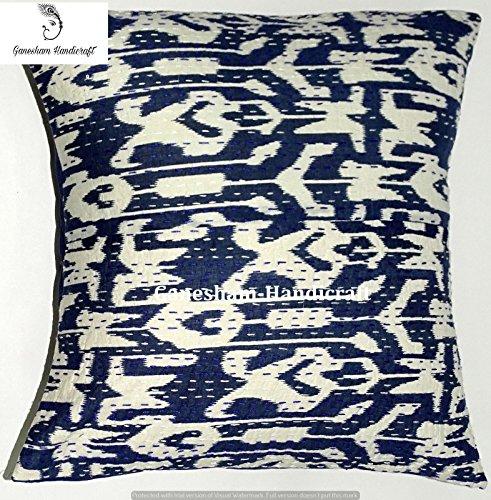 Blau Kantha Handmade Kissen Einsatz Ikat Überwurf Kissen Fall Weihnachten Decor Boho Chic Bohemian Couch Kissenbezug (40,6x 40,6cm)