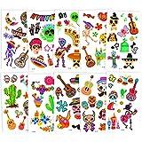 Qpout Tatuajes temporales de la fiesta mexicana del día de los muertos para niños, etiqueta engomada del tatuaje falso del Cinco de Mayo, calavera de azúcar, esqueleto, cactus, guitarra