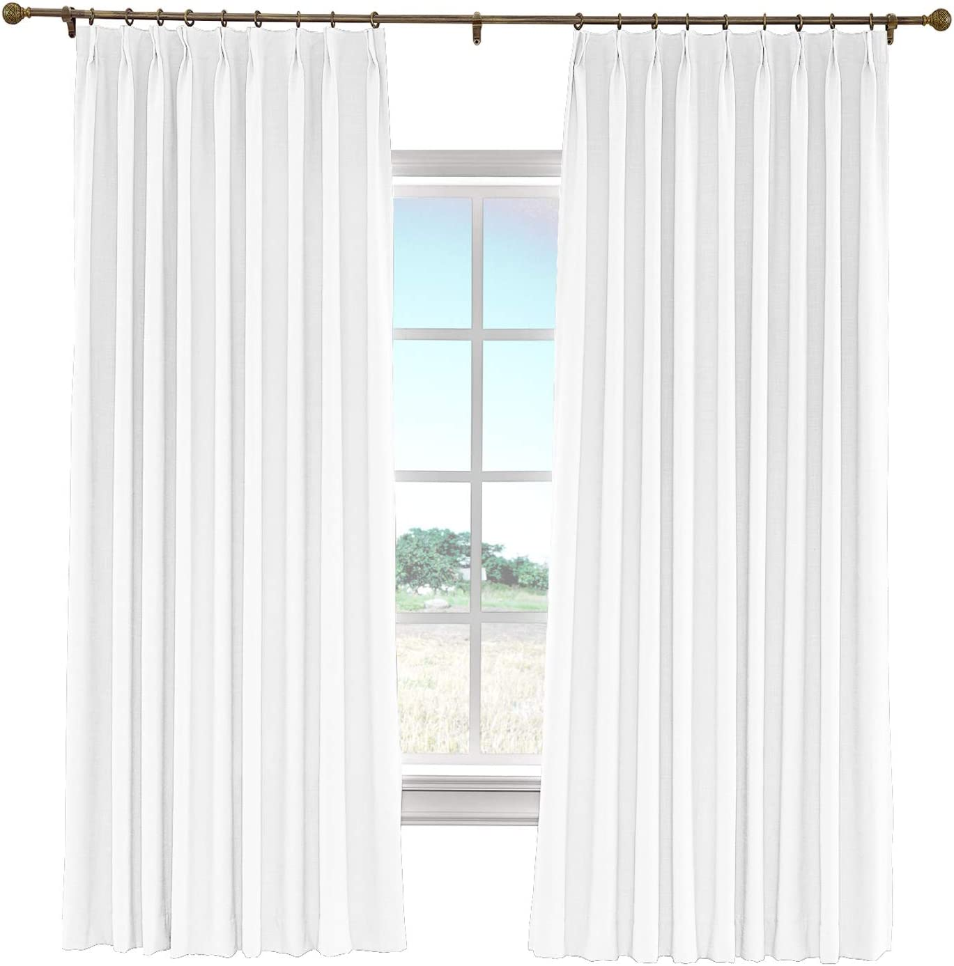 cololeaf Faux Linen Curtain Pinch Complete San Jose Mall Free Shipping Pleat with Drapery Black Panel