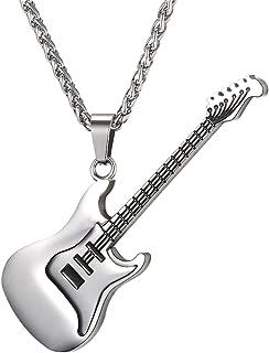 Collar y colgantes de guitarra eléctrica esmaltada con diseño de pistola negra/cadena de cuerda
