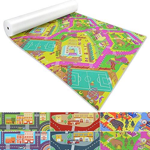 casa pura Spielmatte für Kinder mit Straßen und Häuser | schadstofffrei gemäß Reach | abwaschbar | Rutschfester Kinderspielteppich | zahlreiche Größen | Campus Grün | 140x70 cm