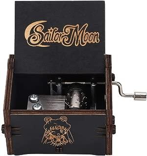 Duokon Caja de música de Madera, manivela de Color Negro mecánica Antigua Caja Musical Tallada Regalo de cumpleaños decoración del hogar para niños, Amigos(Sailor Moon)