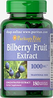Puritan's Pride Bilberry Extract 1000 mg, Concentrated Bilberry Fruit Extract with Antioxidant Properties**, 180 Rapid Release Softgels