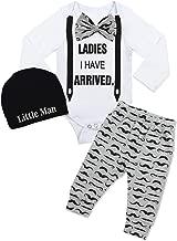 Newborn Baby Boy Clothes Hipster Bowtie Strap Long Sleeve Bodysuit +Moustache Pants+Hat 3Pcs Outfits Set