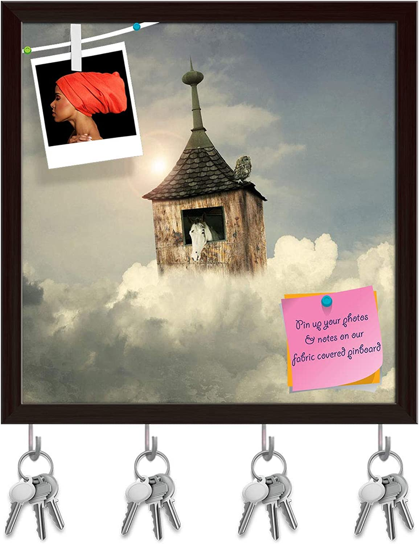 Artzfolio Beautiful Fantasy Tower, House As an Noah Key Holder Hooks   Notice Pin Board   Dark Brown Frame 16 X 16.3Inch