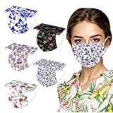 50 Piezas Adulto Protección 3 Capas con Elástico, Feliz día de floral Mix and Match Print para Diario, Actividades al Aire Libre