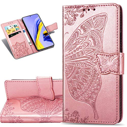 Miagon Embossing Case for iPhone 8 Plus 7 Plus,Premium Leather Flip Wallet Cover with Butterfly Cat Flower Pattern Design,Blue