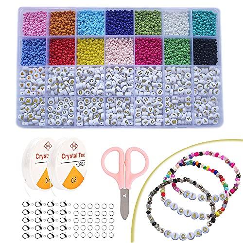 Cuentas de Colores 3mm Abalorios Cristal y A-Z Cuentas del Alfabeto para bolas para pulseras, DIY Pulseras Collares Bisutería Regalo Cadena (14 Colores)