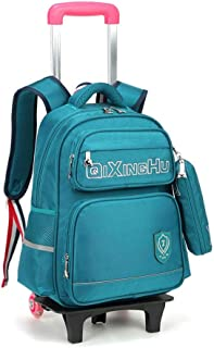 GLJJQMY Travel Backpack Wheeled Boy and Girl Waterproof Backpack Student Child Trolley Bag Trolley Backpack (Color : Green, Size : 42x14x31cm)