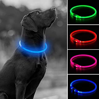 USB Rechargeable LED Dog Collar, Glow in The Dark Led Pet Collar, Water Resistant Cuttable TPU Light Up Collars for Small ...