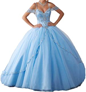 Women's Cap Sleeves Crystals Ball Gowns Tulle Long Quinceanera Dresses