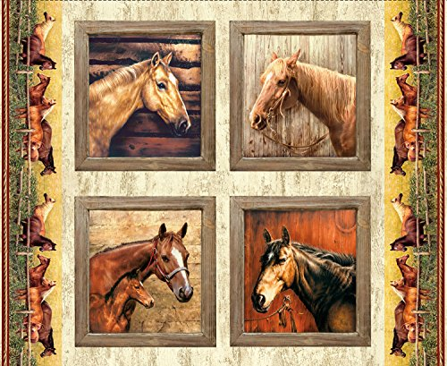 Hold Your Horses - Digital Panel - by Greg & Co. Penny Rose Fabrics 100% Cotton Quilt Fabric PD7014R-Pillow 36' x 42'