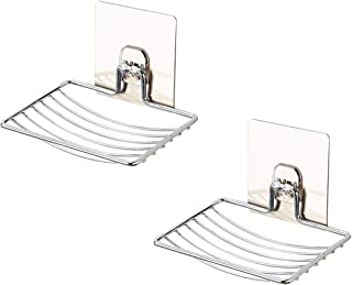 SOFTBATFY Soap Dish Holder, 2 Pack Self Adhesive Wall Mounted Soap Sponge Holder Stainless Steel Storage Saver Rack for Home Kitchen Bathroom Shower (Self Adhesive Soap Dish)