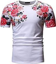 NOBRAND Summer Rose - Camiseta de manga corta para hombre