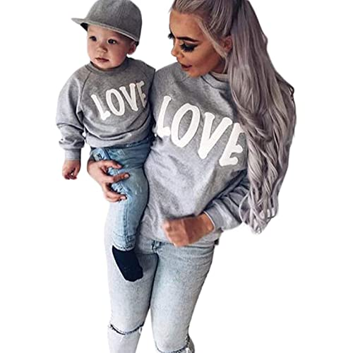 Family Matching Mother Daughter Son Letters Print Hoodie Long Sleeve  Sweatshirt 91c6c8be112