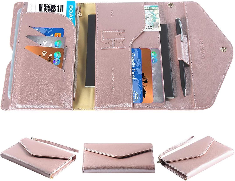 Multipurpose Travel Passport Wallet Holder With Phone Pocket Removable Wristlet