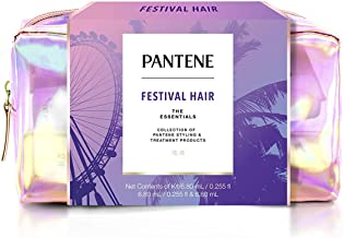 Pantene Gift Set: Dry Shampoo, Hair Spray, Hair Mask, Rescue Shots, and Frizz Iron, Hair Styling and Treatment, Festival Hair Kit for Women, 1 Set