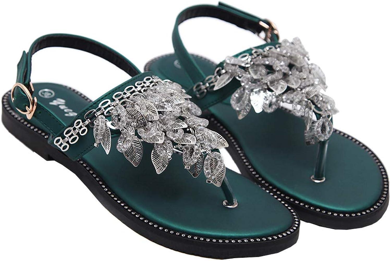 AGOWOO Womens Sandals Thong Beaded Leaf Buckle Flat Fashion Beach Sandles