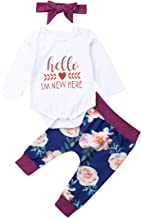 Isnt She Lovely Infant Newborn Baby Girl Short Sleeve Bodysuit Romper Tops Floral Pants with Headband Outfits