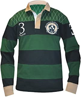 Croker Traditional Green and Navy Striped Rugby Jersey - Cotton Long Sleeve Polo Shirt