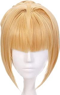 Anogol Hair Cap+Golden Blonde Short Synthetic Wig Anime Cosplay Women Hair