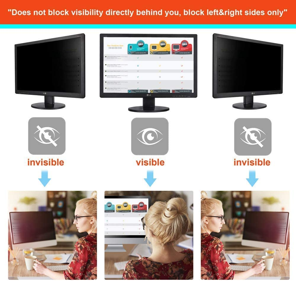 Anti Glare//Spy Shield Film WxH:377mmx302mm Aenoko Privacy Screen Filter Protector for 19 inch 5:4 Square Computer Monitor UV//Eye Protection Blue Light Blocking