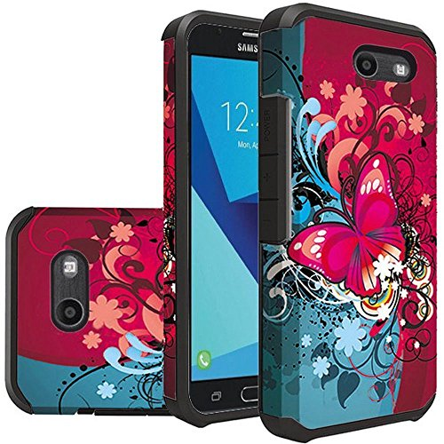 [ Storm Buy ] Butterfly Series Durable Phone Case Cover for [ Samsung Galaxy J7 J727 2017 / Galaxy J7 Prime/Galaxy J7V / Galaxy J7 Perx/Galaxy J7 Sky Pro/Galaxy Halo ] (Red Butterfly)