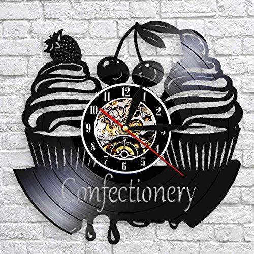 suwhao Zoetwaren Zakelijke Muur Teken Moderne Wandklok Snoepjes Cupcake Vinyl Record Wandklok Bakkerij Kersen Taart Decoratieve Klok 30X30Cm