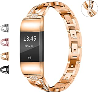 Wekin Replacement Metal Bands Compatible for Fitbit Charge 2 and Charge 2 HR, Adjustable Fashion Bling Rhinestone Smart Watch Accessory Wristband Bracelet Strap for Charge 2 Tracker (X-Rose Gold)