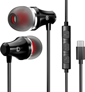 USB Type C Earphones Stereo in Ear Earbuds Headphones with Microphone Noise Cancelling Wired Earbuds with Mic and Volume C...