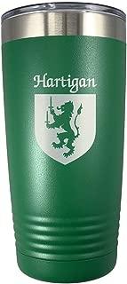 Harrigan Irish Coat of Arms Stainless Steel Green Travel Tumbler