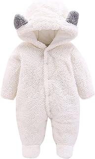 طفل الفتيان الفتيات الشتاء رومبير الوليد الدافئة الصوف بذلة أبلى الزي ملابس الأطفال (Color : White, Size : 3-6 Months)