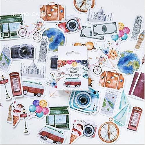 BLOUR Nuevo Pegatinas Decorativas de Viaje de una Persona Pegatinas Adhesivas DIY Decoración Diario Papelería Pegatinas Regalo de los niños 46 PC/Bolsa