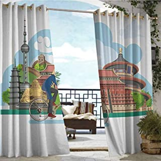 Andrea Sam Balcony Curtains Ancient China,Chinese Elements Traditional Architecture and Costumes Behind a Cycling Man,Multicolor,W96 xL108 Silver Grommet Top Drape