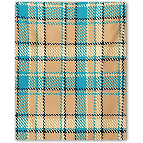 ScottDecor Checkered Elegant Poster Zigzag Patterned Lines Ancient Celtic Culture Inspired Fashion Gifts for mom Cream Pale Blue Dark Blue L24 x H48 Inch